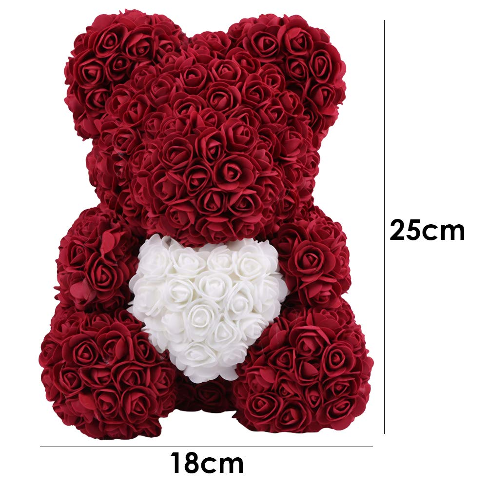25 * 18cm Matefielduk Oso de Rosas Artificiales de EVA Flor Eterna Preservadas Hechos a Mano,Rosas Oso Regalos para San Valent/ín Boda y Cumplea/ños