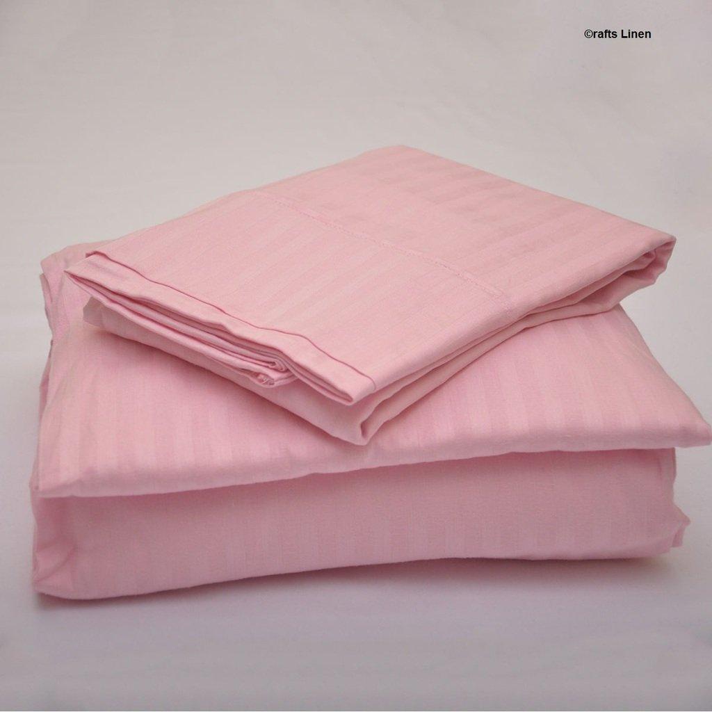 Crafts Linen Egyptian Cotton 400-Thread-Count Sateen 4 PCs Double Sheet Set +42 CM Pocket Depth Pink Stripe