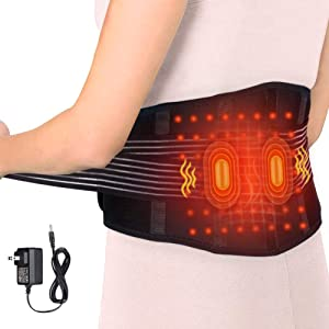 Electric Waist Heating Pad and Massage Belt, Heated Therapy Lumbar Brace Wrap and Adjustable Heated, Lower Back Hot Therapy Pad for Back Abdominal Arthritic Stomach and Menstrual Cramps Pain Relief