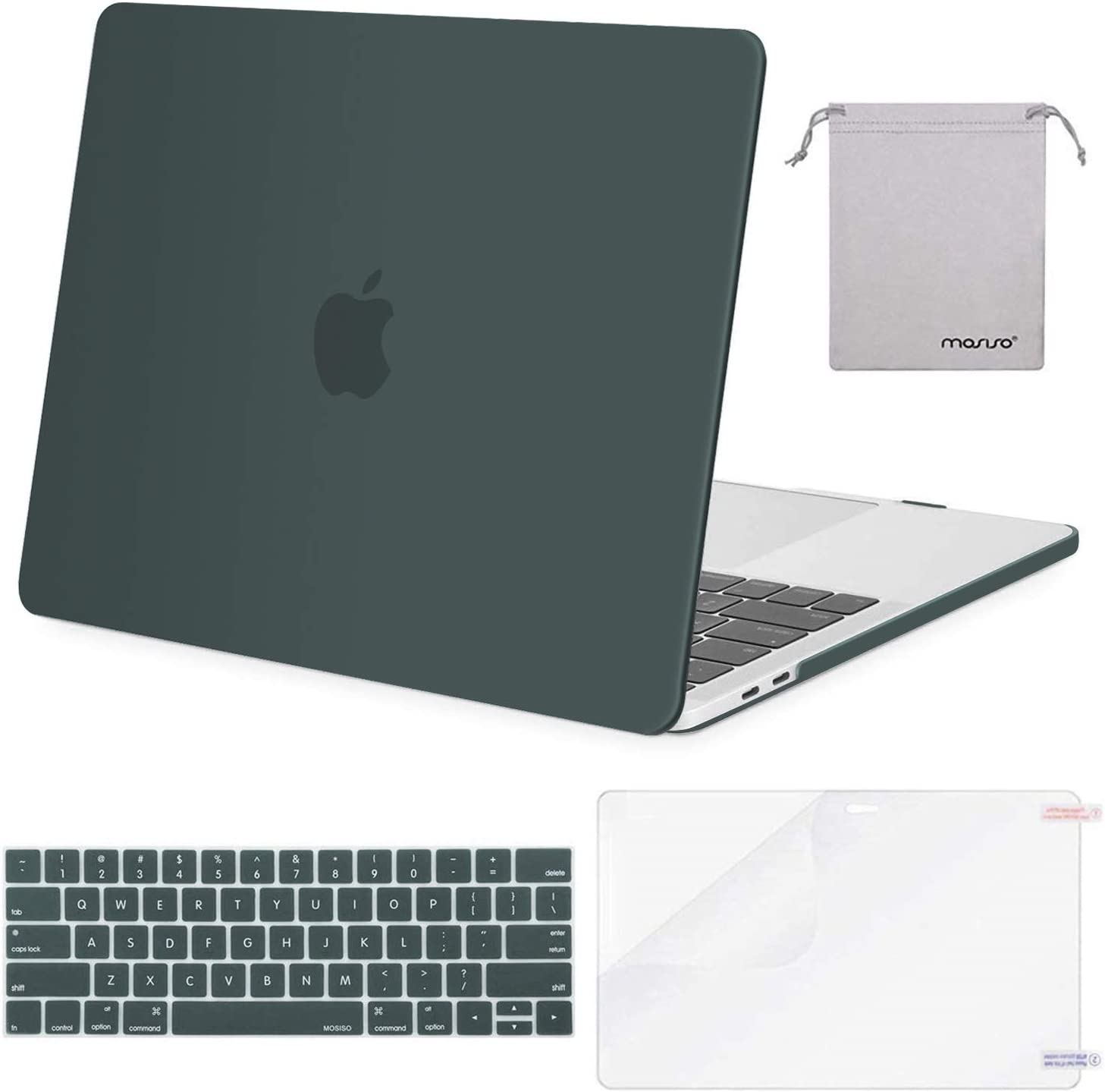 MOSISO MacBook Pro 13 inch Case 2019 2018 2017 2016 Release A2159 A1989 A1706 A1708, Plastic Hard Shell Case&Keyboard Cover&Screen Protector&Storage Bag Compatible with MacBook Pro 13, Midnight Green