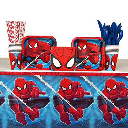 Spiderman Party Pack for 16 Guests: Straws, Plates, Napkins, Cups, Cutlery, and Table Cover