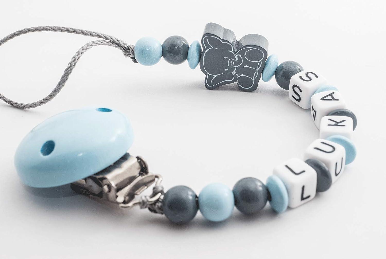 Schnullerkette mit Namen Wunschname Baby Elefant blau grau Junge