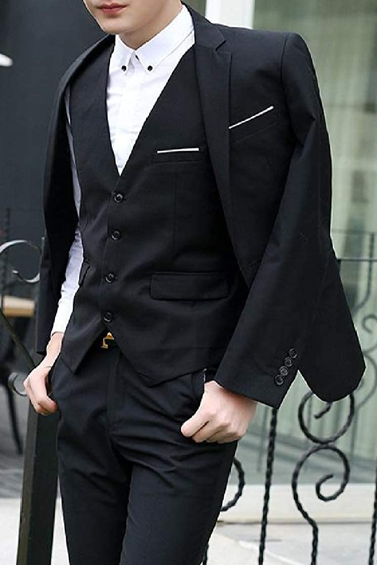 Cromoncent Mens Slim Fit One Button Wedding 2 Piece Blazer Pants Suit Sets
