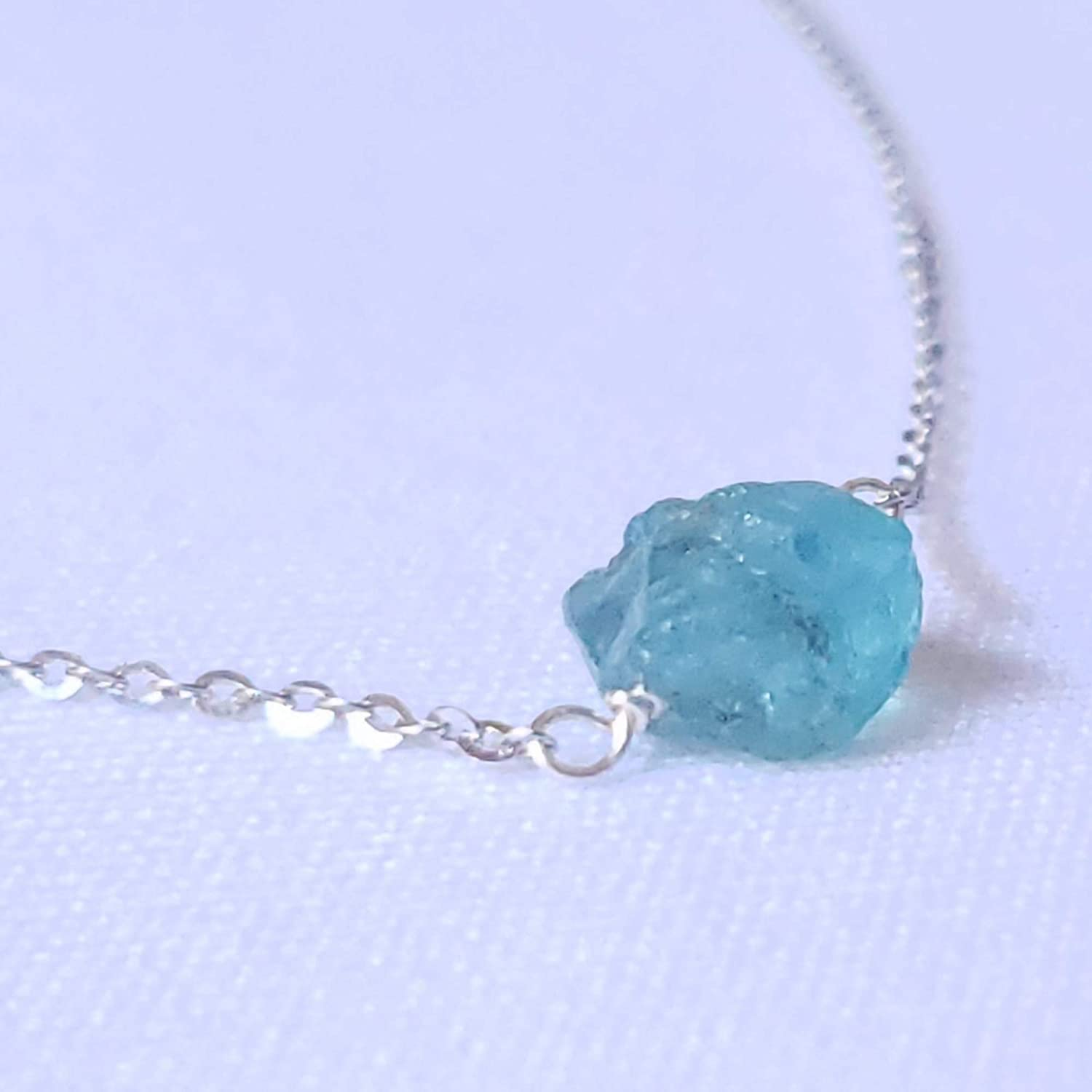 Blue Apatite Charm Necklace Handmade Pendant Crystals Boho Jewelry One of a Kind Copper Chain Gemstones
