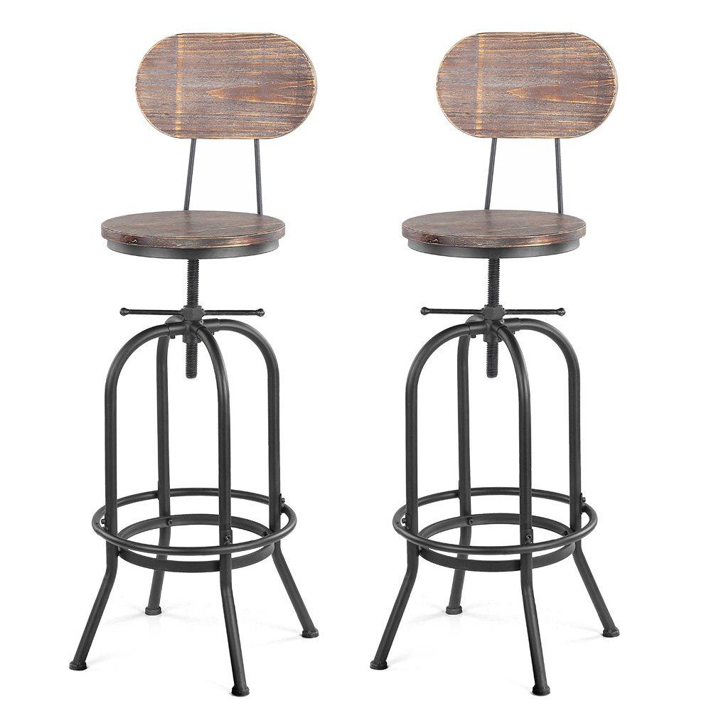 Tabouret de Bar Industriel Bois IKAYYA Lot de 2 tabourets de Bar Lot de 2 chaises de Bar de Style Industriel en Bois r/églable en Hauteur