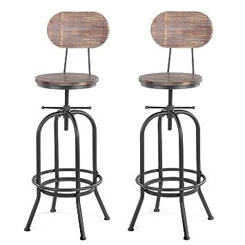 Lot De 2 Chaises Bar Style Industriel En Bois Reglable Hauteur