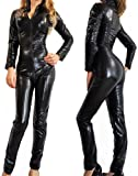 Nawty Fox Sexy Gothic Black Wet Look Metallic Catsuit Fetish Bodysuit Superhero Costume-Reg and Plus Size