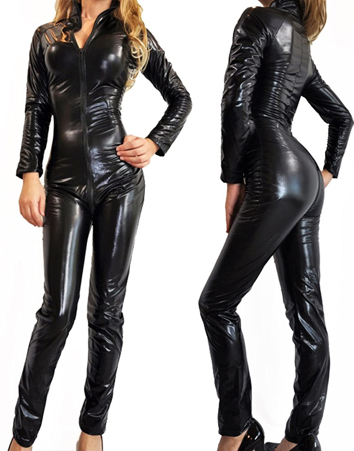 Gothic Black Wet Look Metallic Bodysuit Superhero Costume-Reg and Plus Size