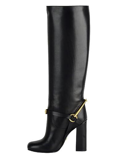 77acbf23047 Gucci Boots Tess Black Leather Lifford Tall Horsebit High Heel (IT 38   US 8