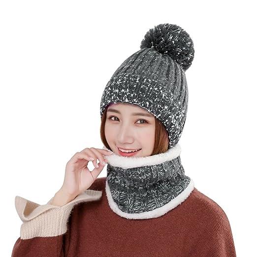 8c14b8f72c1 Vbiger Winter Hat Scarf Set Warm Knit Beanie Hat and Scarf with Warm Soft  Fleecy Lining