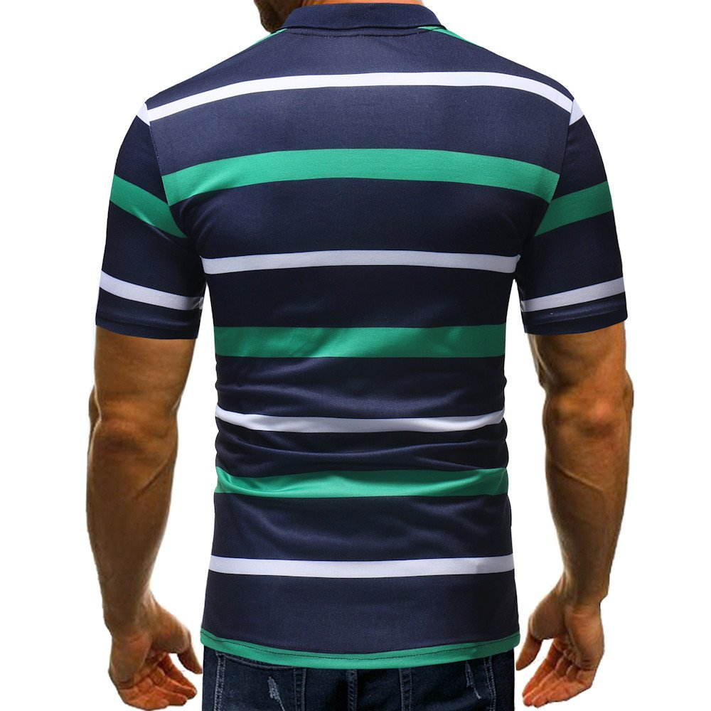 Chaofanjiancai Mens Tops Mens Fashion Polo Shirts Summer Casual Buttons Striped Short Sleeve T Shirt
