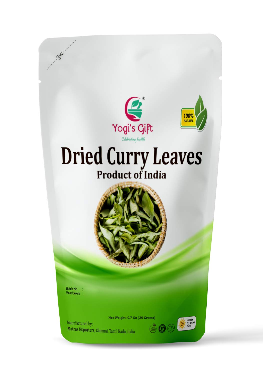 Yogis Gift Indian Dried Curry leaves 0.7 oz. | Aromatic, Flavorsome of fresh leaves | Herb to flavor food