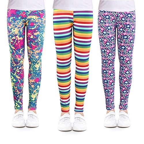 slaixiu 3-Pack Printing Flower Girl Leggings Kids Classic Pants 4-13Y(No.22_Door_10-11,80#)