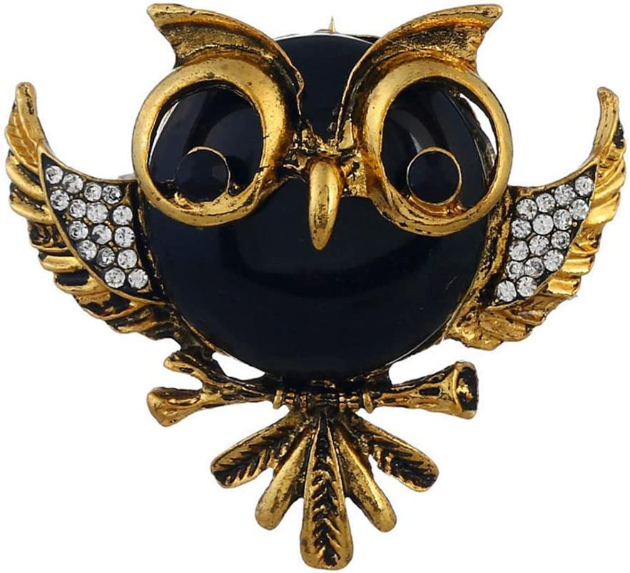 4.8CM Gespout Broche Hibou bijou Rouge Broche Bijoux Hiboux decoration Cr/éatif Cadeau Alliage 4.6