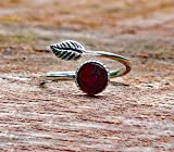 Recycled Vintage Red 1940's Beer Bottle Sterling Silver Leaf Botanical Collection Ring