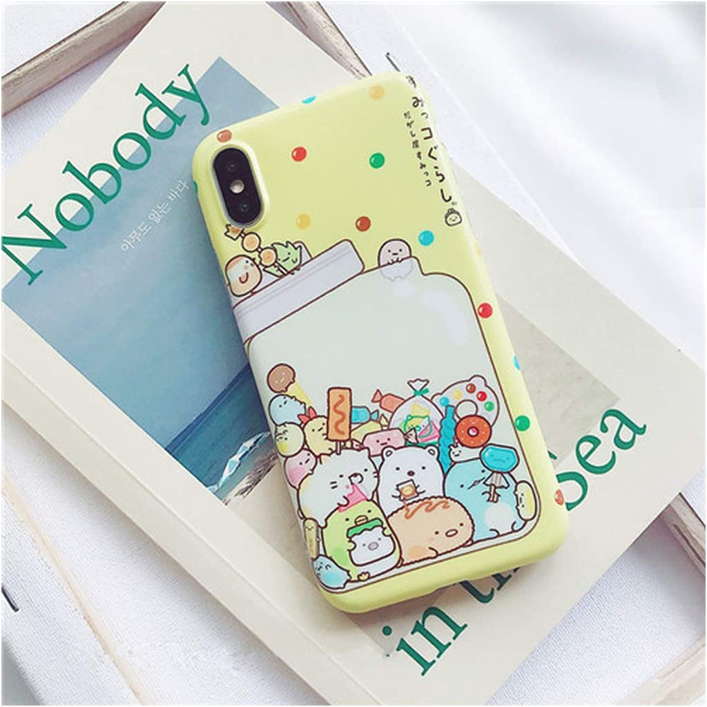 Japan Cartoon Soft TPU Case Compatible for iPhone Xs Max X Xr Xs Painted Case Compatible for iPhone 6 6S 7 8 Plus Free Strap,Compatible for iPhone 6 6S,B