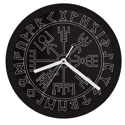 LTOOD Vegvisir Brújula Vikingos Símbolo Runas LED Reloj de Pared de neón Reloj de Pared Moderno