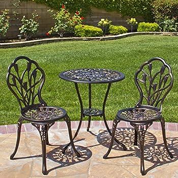 Best Choice Products Outdoor Patio Furniture Tulip Design Cast Aluminum 3  Piece Bistro Set In Antique
