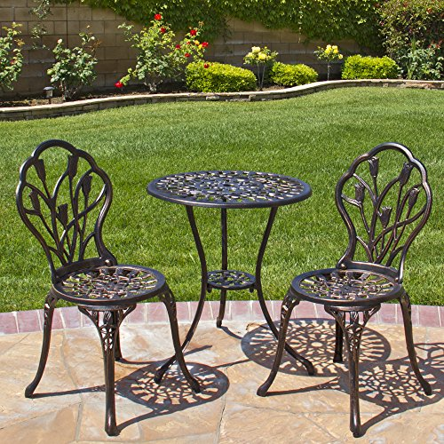 Best Choice Products Outdoor Patio Furniture Tulip Design Cast Aluminum 3 Piece Bistro Set in Antique Copper - Cast Aluminum Patio Furniture
