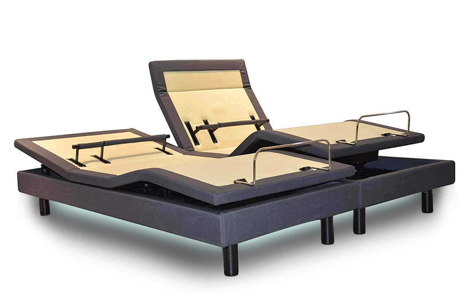 DynastyMattress New! DM9000s -Top of The Line Adjustable Bed Base-Wireless Remote-Quad Massage-Bluetooth- Head Tilt-Audio Music-Lumbar Support (Split King-Without Setup)