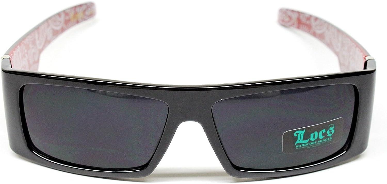 Locs Hardcore Gangster Thug Biker Vintage Sunglasses Mens Black Red Lc88
