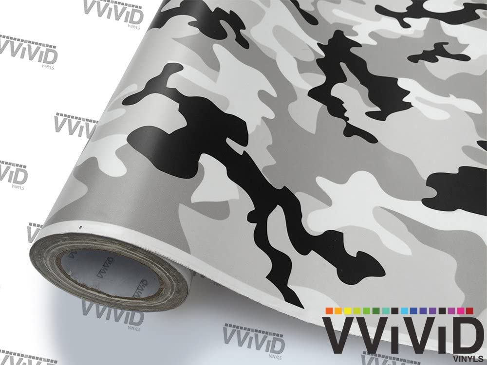 VViViD Vinyl Camouflage Pattern Wrap Air-Release Adhesive Film Sheets 1ft x 5ft, Snow Camo