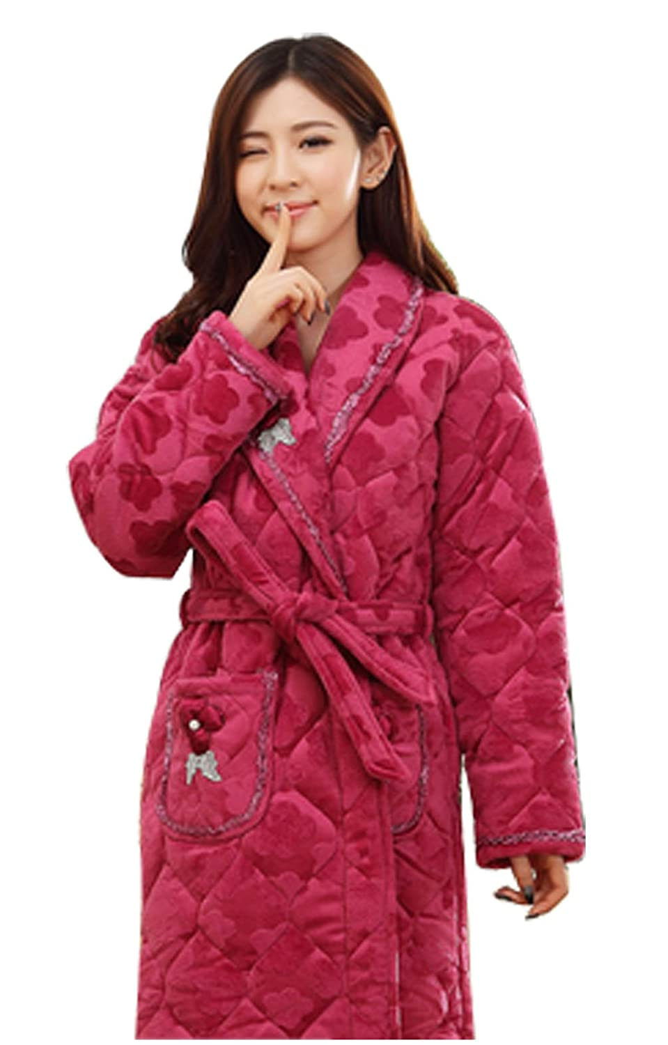 New Style Comfortable and Soft Women Coral Velvet Quilted Robe and Bathrobe-Purple Red