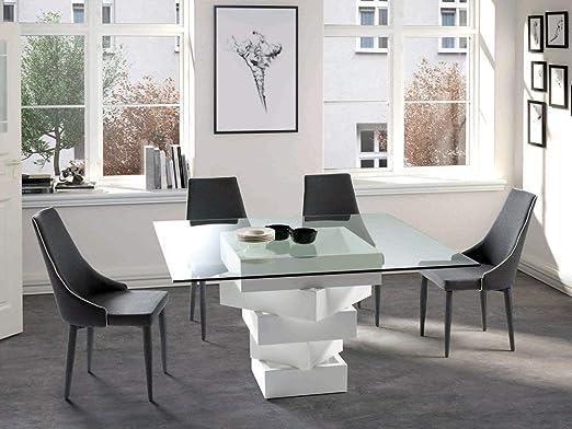 Table Salle A Manger Design Carree En Bois Laque Blanc Et Verre