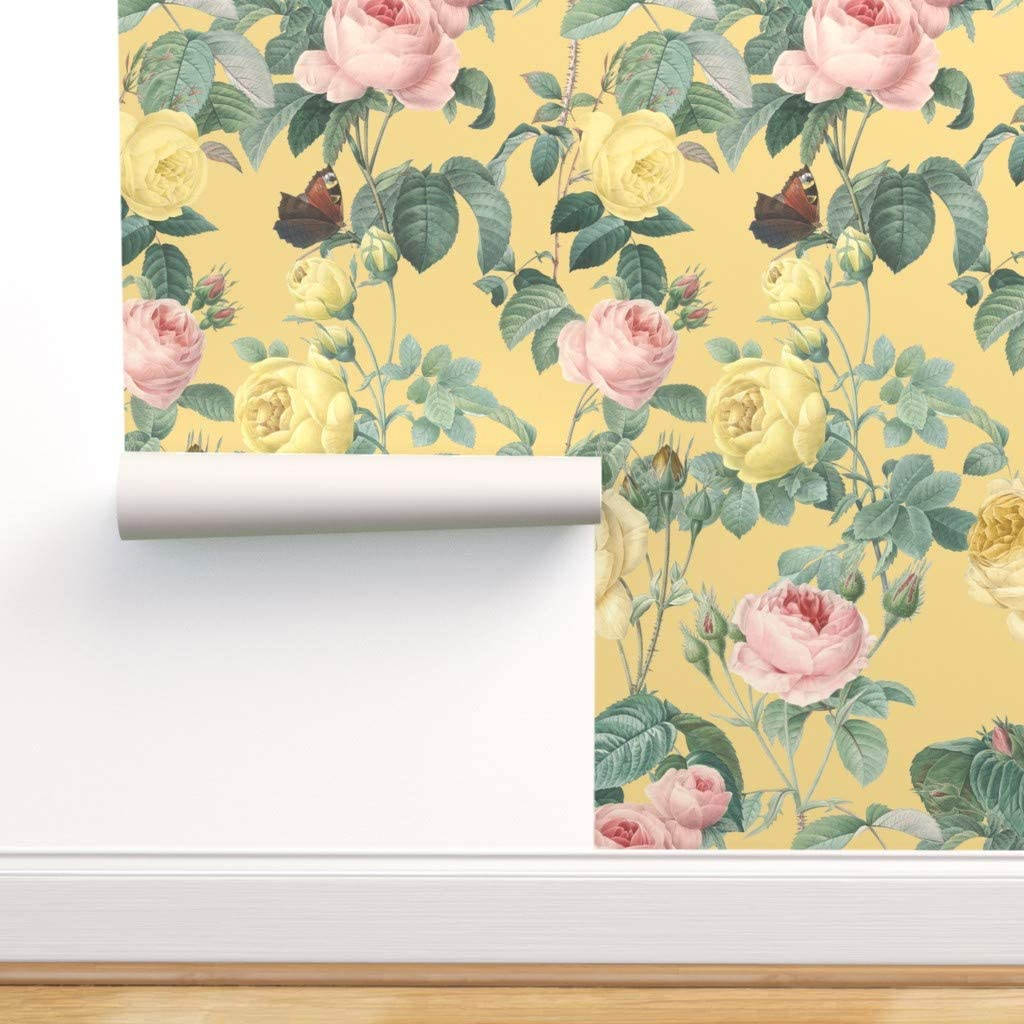 Spoonflower Pre-Pasted Removable Wallpaper, Floral Flower Garden Nature English Cottage Yellow Chic Butterfly Print, Water-Activated Wallpaper, 12in x 24in Test Swatch