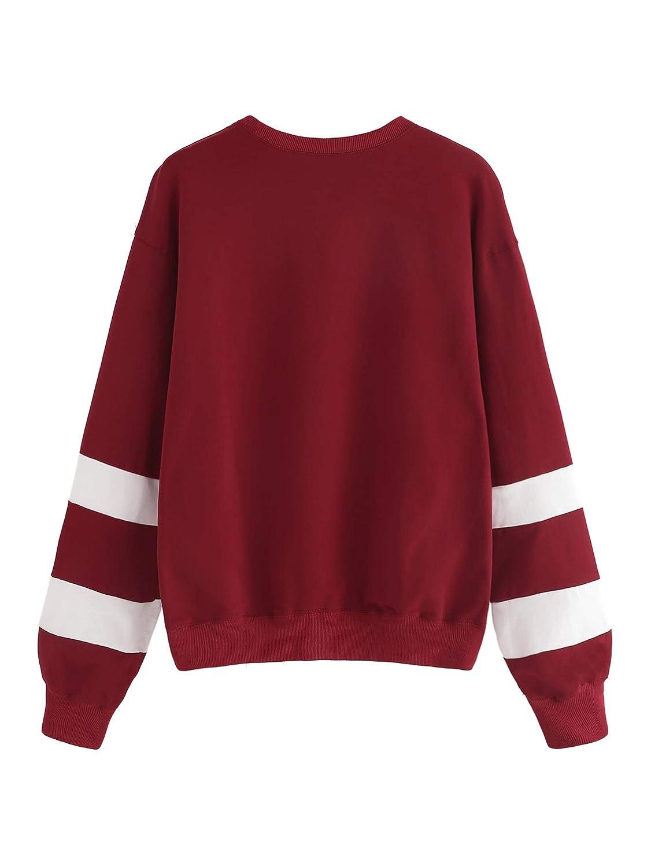 Milumia Womens Drop Shoulder Striped Sleeve Casual Sports Pullovers Sweatshirt