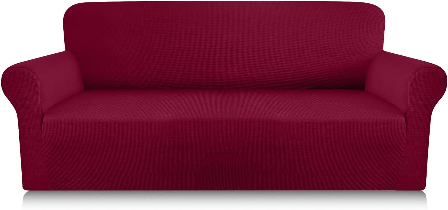 Luxurlife Premium Thickened Sofa Covers for 3 Cushion Couch 1-Piece High Stretch Couch Cover Sofa Slipcover for Pets Furniture Protector with Unique Checkered Pattern Spandex Fabric(Large, Wine Red)