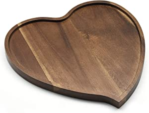 JB Home Collection 4568, Premium Acacia Wood Heart Shape Romantic Wedding Serving Tray Plate for Snack Cake Fruit Nuts Appetizer,8.25