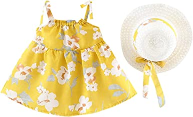 Bebe Niña Mini Vestido Floral Dulce + Sombrero de Paja Blanco ...