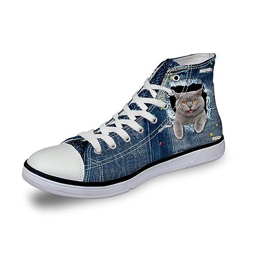 hugsidea impresión de Perro Gato Mujeres Denim Zapatillas High Top Lienzo Zapatos: Amazon.es: Zapatos y complementos