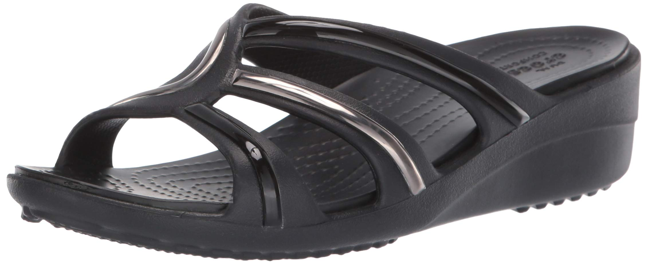 Crocs Women's Sanrah MetalBlock Strap Wedge Sandal, Multi Black, 8 M US by Crocs