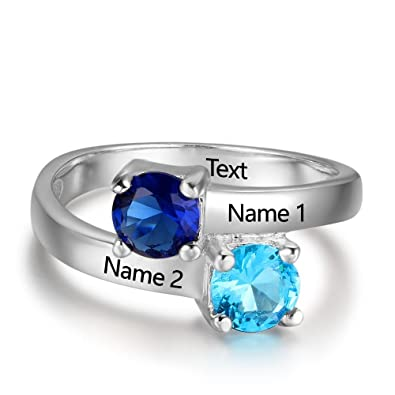 36778d28b8 Promise Ring For Her 2 Round Birthstones 2 Names and 1 Engraving Customized  and Personalized Size