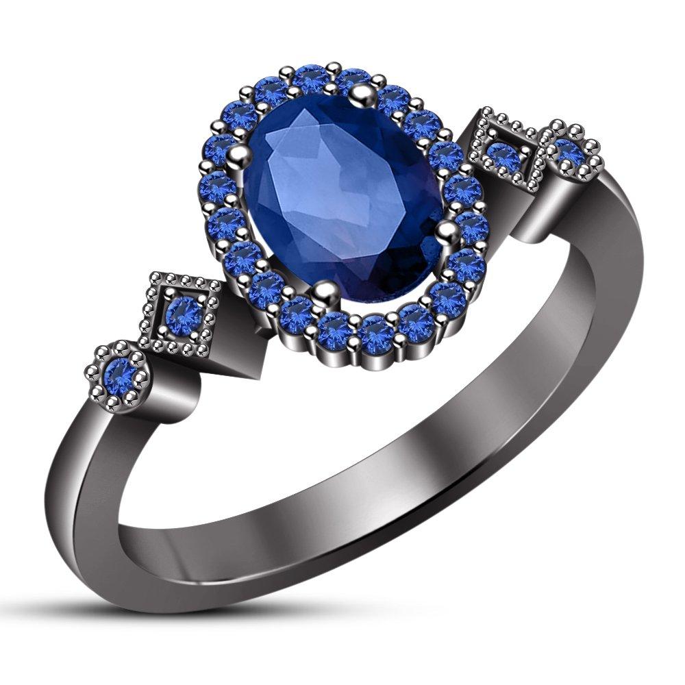 suministro directo de los fabricantes N 1 2 2 2 Vorra Fashion - Anillo de boda para mujer, diseño ovalado, Color azul zafiro  estar en gran demanda