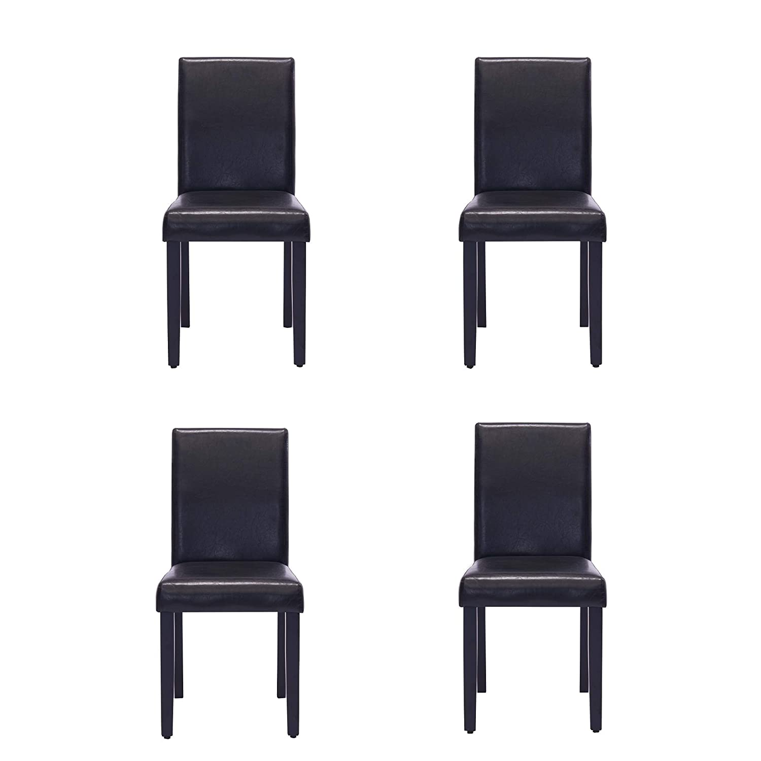 Comfortable Live New Modern Style Dining Chair in Home and Garden with Leather Set of 4 Black