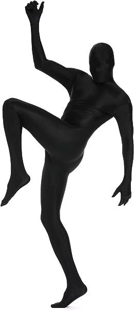 CCbeauty Full Body Suit Black Stretch Costume Halloween Zipper Zentai Suit Small
