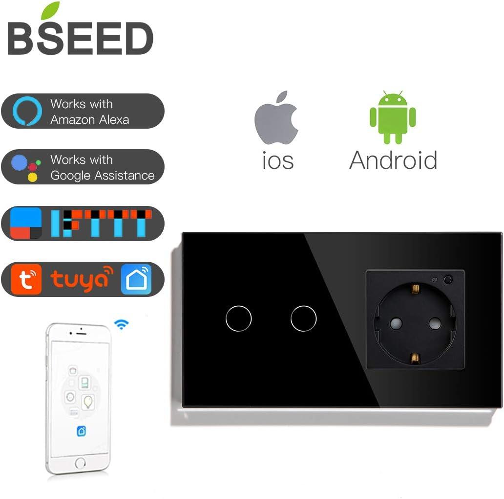 BSEED WIFI Touch Switch und EU-Steckdose unterst/ützen Google Home//Alexa//IFTTT funktionieren mit SAMRT LIFE//TUYA APP Wandleuchtensteckdosen 2 Fach with EU Steckdose Schwarz