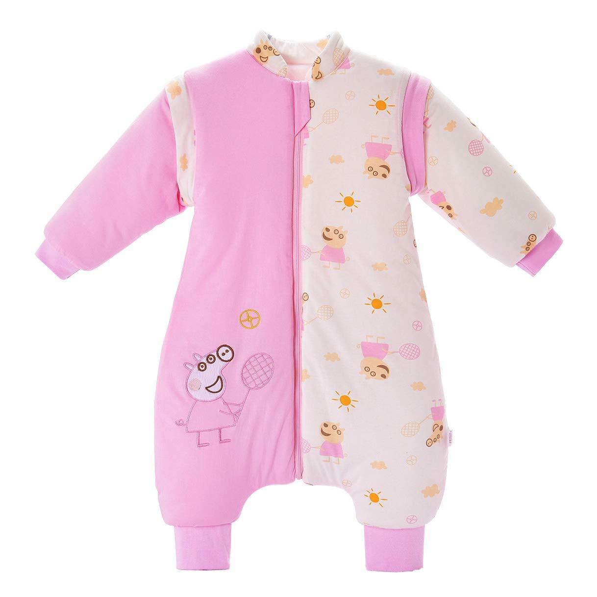 Saco de dormir para bebé con pies y pijama de manga larga de algodón, traje de dormir para bebé de 1 a 3 años. rosa rosa Talla:M(0-1 years old) Mosebears