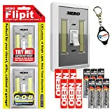 Nebo 6523 Flipit 2 Pack Mount Anywhere Wireless Magnetic LED Light with 6 Extra Energizer AAA Batteries and LightJunction Keychain Light