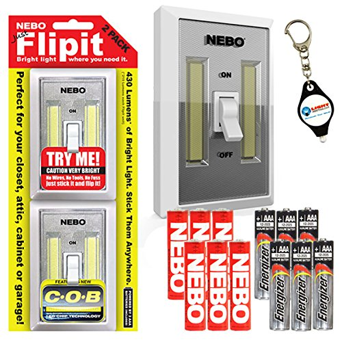 Nebo 6523 Flipit 2 Pack Mount Anywhere Wireless Magnetic LED Light with 6 Extra Energizer AAA Batteries and LightJunction Keychain Light by NEBO