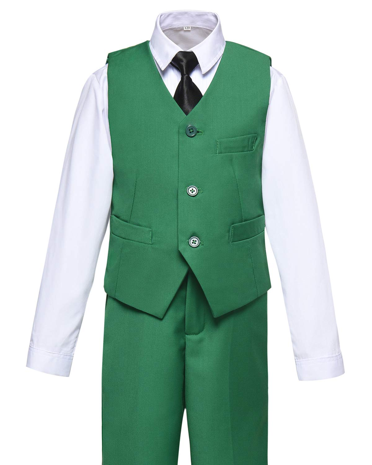 Boys Vest and Pants Set Kids Suit for Boy Formal Tuxedo Dresswear Outfit Green Size 7 by Visaccy (Image #2)