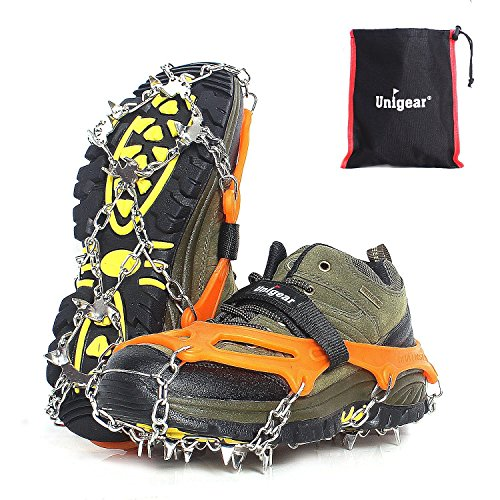 Traction Cleats Ice Snow Grips with 18 Spikes for Walking, Jogging, Climbing and Hiking (Orange, M)