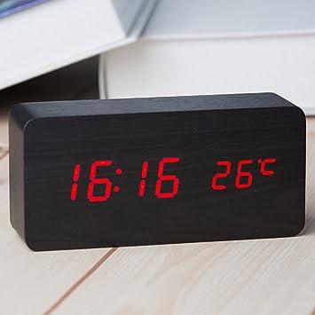 1ef23ca7831 Relógio Despertador Mesa Digital Tipo Madeira Com Sound Control 1299 (Preto)