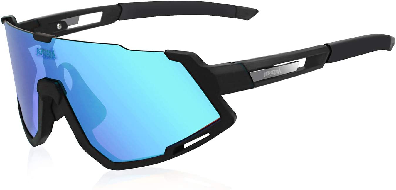 TOPTETN Polarized Sports Sunglasses with Interchangeable Lenes Men Women Cycling Glasses