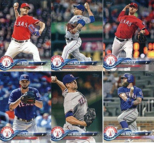 2018 Topps Series 2 Baseball Texas Rangers Team Set of 11 Cards: Cole Hamels(#371), Martin Perez(#395), Alex Claudio(#404), Mike Minor(#412), Carlos Gomez(#447), Delino DeShields(#482), Mike Napoli(#512), Matt Bush(#523), Keone Kela(#569), Doug Fister(#617), Ryan Rua(#622)