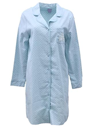 193ab16a1b Laura Scott Womens Blue Polka Dot Flannel Nightgown Sleep Shirt Night Gown L