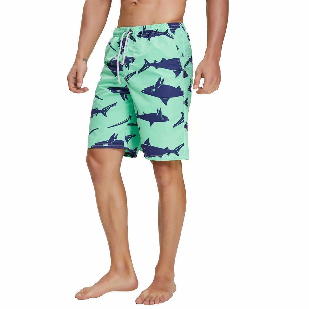 Swim Trunks for Men Shark Printed Beach Bathing Swimwear Shorts